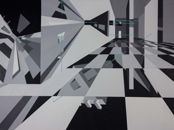 'Teal Minimalism' - (a piop art painting) - by Arthur Lugauskas