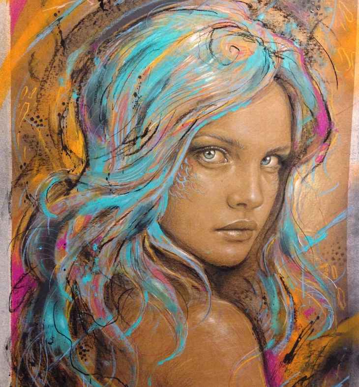valdi mixedmedia paint mermaid face