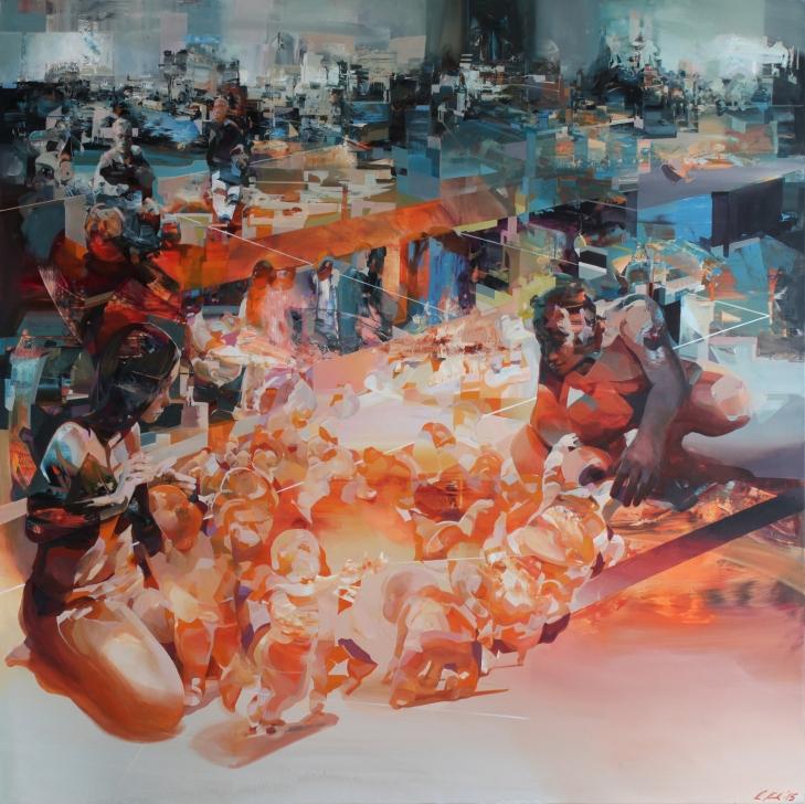 'falling+circle'+140x140cm;+acrylic+on+canvas,+2015
