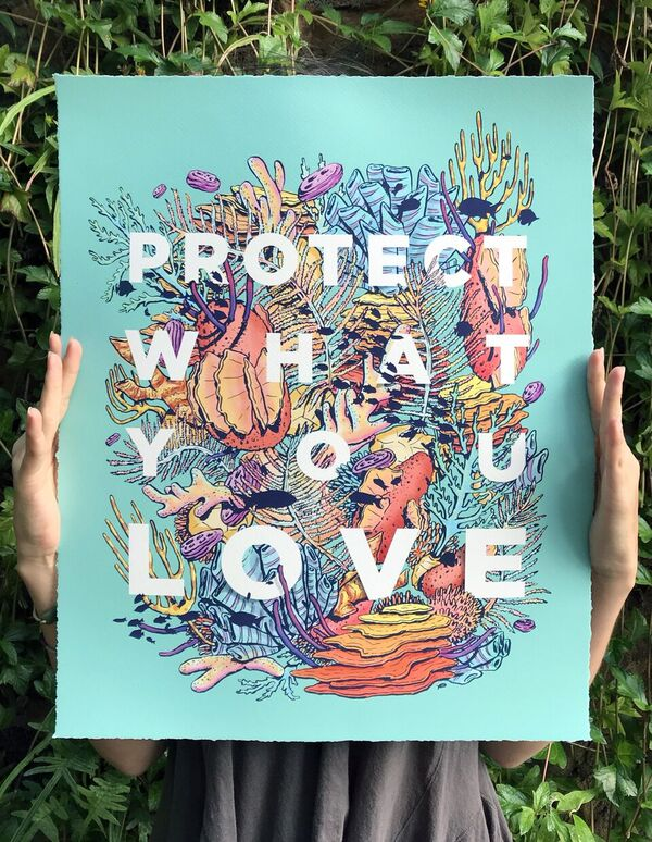 protect what you love - sticker art